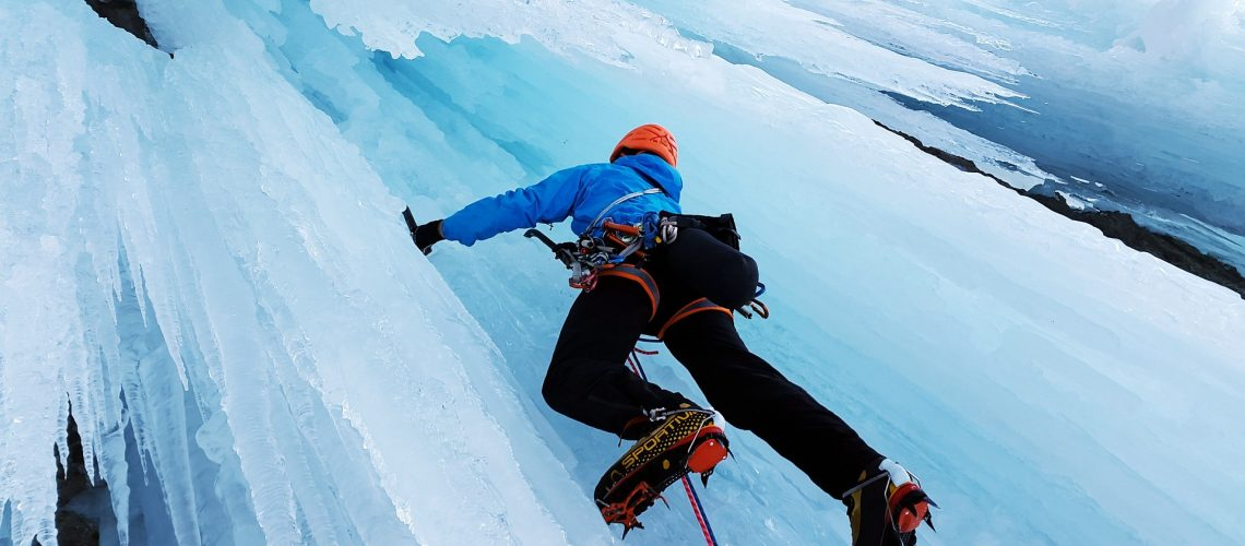 Man Doing Ice Mountain Climbing